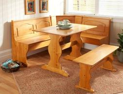 Dining Nook Solid Pine Breakfast Set in Natural Finish with