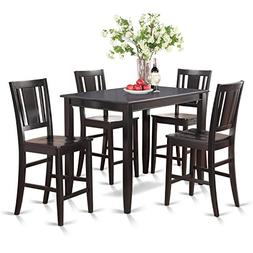 East West Furniture BUCK5-BLK-W 5-Piece Counter Height Table