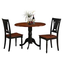 East West Furniture DLPL3-BCH-W 3-Piece Kitchen Table and Ch