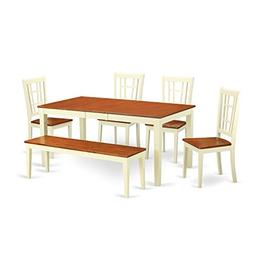 East West Furniture NICO6-WHI-W 6-Piece Dining Table Set, Bu