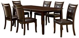 Furniture of America Carlson 7-Piece Dining Table Set with 1
