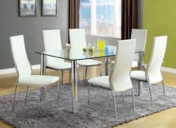 Furniture of America Novae 7-Piece Dining Set with White Cha