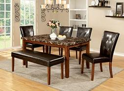 Furniture of America Smithson 6-Piece Transitional Faux Marb