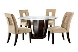 Furniture of America Valyria 5-Piece Round Dining Table Set