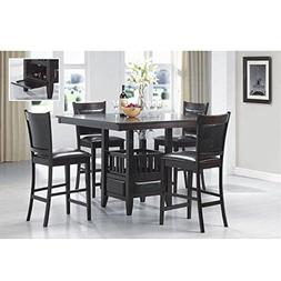 Jaden Square Counter Height Table with Center Storage Cabine