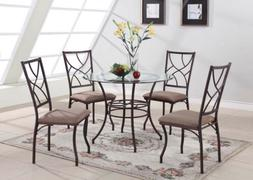 King's Brand 5 Pc. Set Brand Round Glass & Metal Dining Room