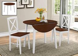 Kings Brand Furniture 3 Piece Wood Dinette Drop Leaf Table &