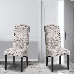 Merax Script Fabric Accent Chair Dining Room Chair with Soli