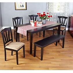 Metropolitan Black 6-Piece Dining Set with Table, Bench and