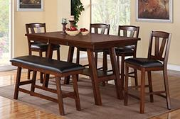 Poundex F2273 & F1333 & F1334 Walnut Table & Chairs/Bench Co