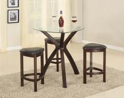 Roundhill Furniture 4-Piece Triangle Solid Wood Bar Table an