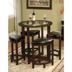 Roundhill Furniture Cylina Solid Wood Glass Top Round Counte