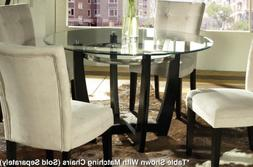 Steve Silver Matinee 48 Inch Round Glass Dining Table in Dar