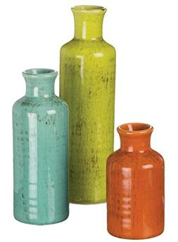 "Sullivans 5-10"" Set of 3 Decorative Crackled Vases in Orange"