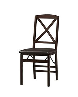 Triena X-Back Folding Chair in Espresso Finish - Set of 2