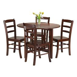 Winsome 5-Piece Alamo Round Drop Leaf Table with 4 Ladder Ba