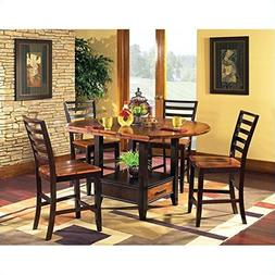 Steve Silver Abaco 5pc Round Counter Dining Room Set in Acac