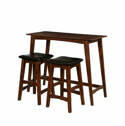 Linon Acacia Wood And Acacia Veneer Dining Set In Walnut Fin
