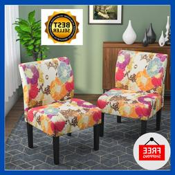 Accent Chair Set Of 2 Armless Upholstered Fabric Dining Chai