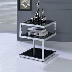 Acme Alyea End Table in Chrome and Black Finish 81848