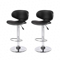 Mecor Adjustable Swivel Leather Bar Stools Hydraulic Counter