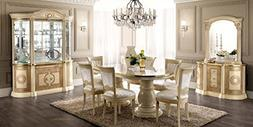 ESF Aida High Gloss Ivory Gold Finish Dining Room Set 8 Pcs
