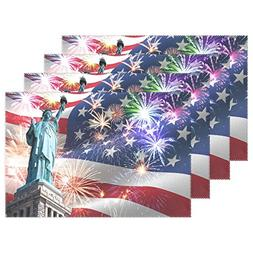 ALAZA American Flag Placemats Set of 6,Statue of Liberty wit