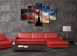 Extra Large American Flag Wall Art Statue of Liberty Firewor