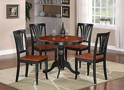 East West Furniture ANAV5-BLK-W 5-Piece Kitchen Table Set, B