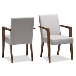 Baxton Studio Andrea Upholstered Arm Chair in Gray Beige
