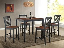 Roundhill Furniture 5 Piece Anja Two-Tone Solid Wood Dining