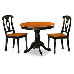 East West Furniture ANKE3-BLK-W Antique Black 3 Piece Dining