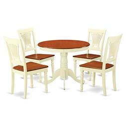 East West Furniture ANPL5-WHI-W 5-Piece Kitchen Table Set, B