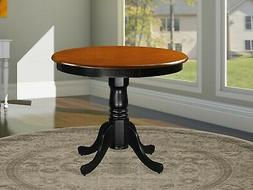 East West Furniture ANT-BLK-T Round Table, 36-Inch, Black/Ch