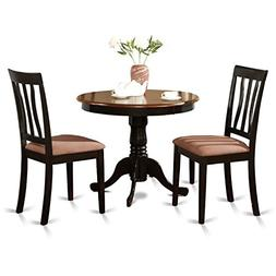 East West Furniture ANTI3-BLK-C 3-Piece Kitchen Table Set, B