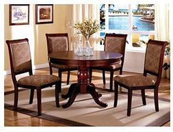 Antique Upholstered Cherry 5-Piece Round Dining Set