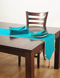 Aqua Blue Table Linens Set with 6 Dinner Napkins and 1 Table