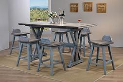 Kings Brand Arland Grey / Blue 7-Piece Counter Height Dining