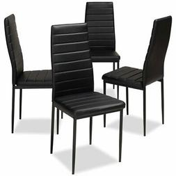 Baxton Studio Armand Faux Leather Dining Chair in Black