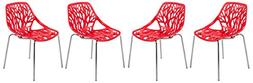 LeisureMod Forest Modern Side Dining Chair with Chromed Legs