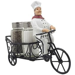 French Chef Pierre Riding Bicycle Cart Salt and Pepper Shake