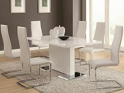 AVENITA 7 pieces Modern Dining Room Set FURNITURE Glossy Whi