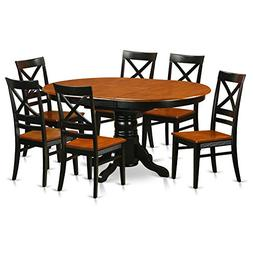 East West Furniture AVQU7-BCH-W 7 Piece with 6 Wooden Chairs