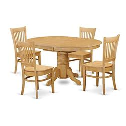 East West Furniture AVVA5-OAK-W 5-Piece Dining Table Set