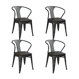 GIA AY52_Set_4_M Metal Dining Chair with Wooden seat, 4-Pack