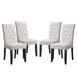 LANGRIA High Back Button Tufted Dining Chair Modern Faux Lin