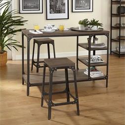 Bar Pub Table Set Industrial 3-Piece Counter Height Kitchen