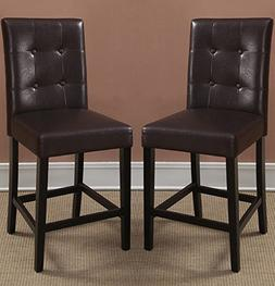 Bar Stools Counter Height Espresso Faux Leather Set of 2 Par