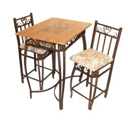 Hazelwood Home Barcelona 3 Piece Counter Height Pub Table Se
