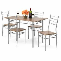 BCP 5-Piece Dining Set Wooden Kitchen Table Metal Legs w/ 4
